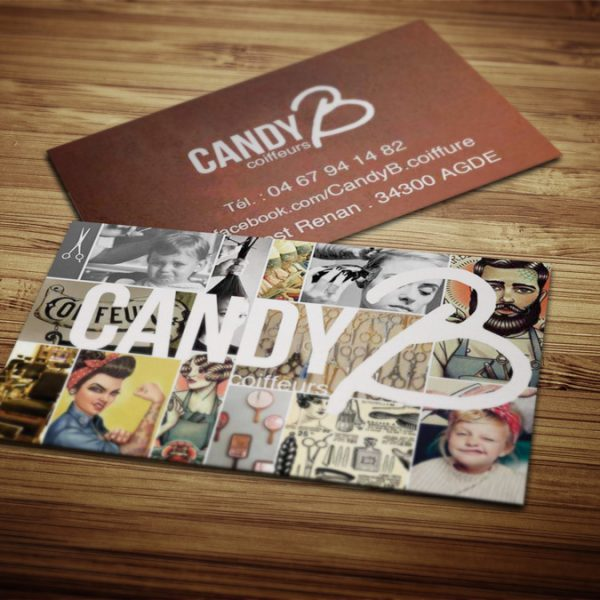 carte, visite, coiffeurs, candy b, agde, graphiste